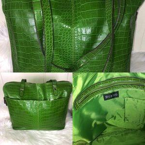 Green crocs lizard skin tote purse bag zip